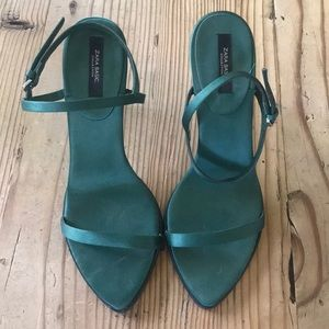 Emerald green pumps